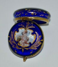 RARE! Antique 1880 HAND PAINTED Blue Glass *CHERUB/PUTTI*Trinket PATCH Box