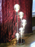 Vintage mid century space-age five chrome ball table lamp sputnik works Great
