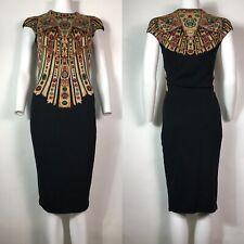 Rare Vtg Alexander McQueen Black Jewel Print Knit Dress XS