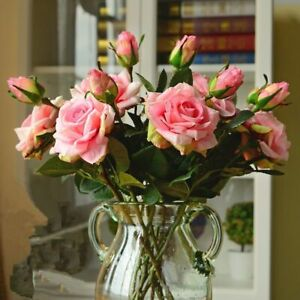 Fake Plastic Roses Artificial Flowers Realistic Look Wedding Table Decoration