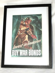 US Airborne Poster Invest in Invasion - Buy War Bonds Sign Plaque Poster Repro