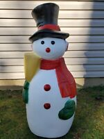 "RARE Vintage 41"" Frosty Snowman Blow Mold Christmas Decoration w/scarf and broom"