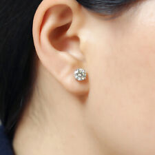 2Ct Round Cut Moissanite Push Back Solitaire Stud Earrings 18K White Gold Finish
