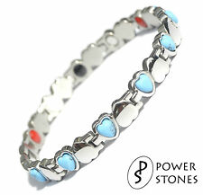 LADIES STRONG MAGNETIC THERAPY BRACELET 4 IN 1 HEALING ARTHRITIS TURQUOISE 011