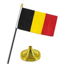 "Belgium 4""x6"" Flag Desk Set Table Stick Gold Base"