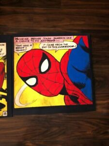 Pottery Barn kids 2012 Marvel spider man and captain America wall arts set of 2