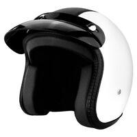 3/4 DOT Open Face Helmet w/ Sun Visor - White & Black Leather Motorcycle Helmet
