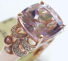 10k Rose Gold Pink Amethyst, Pink Sapphire, Diamond Ring Sz 6 3/4