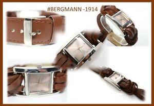 GOLDJUNGE69 * DAMEN- ARMBANDUHR #BERGMANN 1914 - BRAUN - KNOTEN - NEU !
