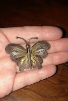 Antique Vintage Art Nouveau Sterling Silver Gold Filigree Butterfly Pin Brooch