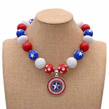 New Patriotic Style Chunky Necklace Captain Bead Bubblegum Gumball Kids Jewlery