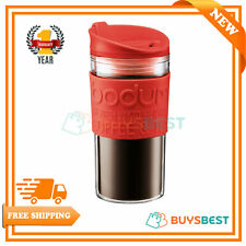 Bodum Double Wall Plastic Travel Mug Red Lid Band Insulated Coffee 350ml