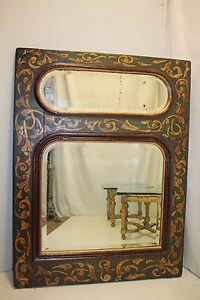 Venetian Style Italian  Decorative Hand Painted Mantel Wall Mirror circa 19th.