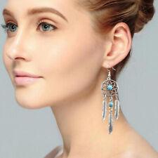 Boho Vintage Pendant Drop Earrings Dream Catcher Feather Dangle Ear Stud Jewelry