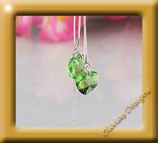 Pendientes & Collar Plata 925 con ORIGINAL Cristales De Swarovski Peridot Verde