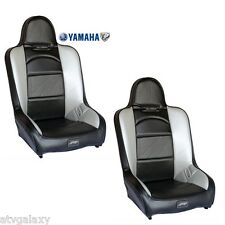 PRP High Back Front Seats Pair (2) Carbon Black Silver Yamaha Rhino 450 660 700