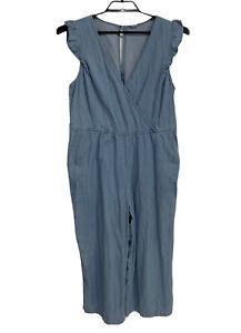 Old Navy Femmes Juimsuit Barboteuse Bleu sans Manche Pantalon Capri Taille L