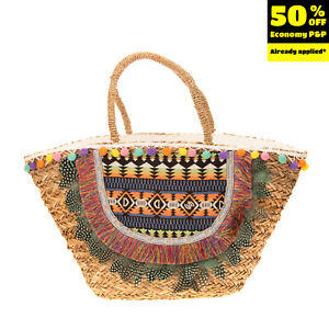 Woven Straw Tote Beach Bag Large Feathers Fringes Pom Poms Patterned Details