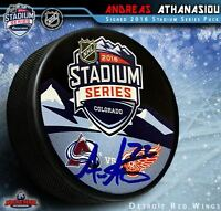 ANDREAS ATHANASIOU Signed 2016 NHL Stadium Series Logo Puck - Detroit Red Wings