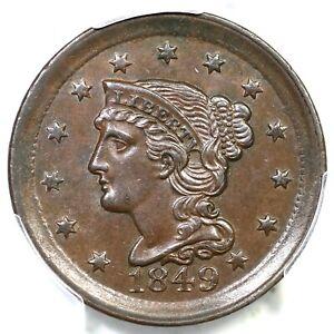 1849 N-2 PCGS AU 58 Braided Hair Large Cent Coin 1c