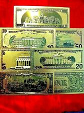 AMERICA BANKNOTE $1 TO $100 7 COLOURED 24K GOLD BANK USA NOTE SET
