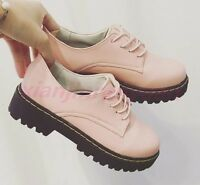 New HOT Retro Oxfords Round Toe Mid Cuban Heel Casual Womens Pumps Lace Up Shoes