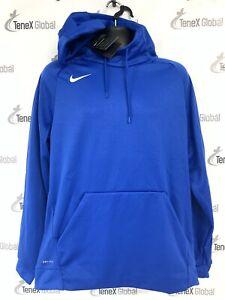 Nike Therma Dri-Fit Royal Blue Hoodie Mens Large Athletic Pullover Hoodie F-2