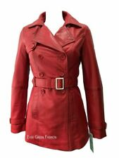 Ladies Trench 1123 Red Classic Mid-Length Deluxe Leather Awesome Jacket Coat