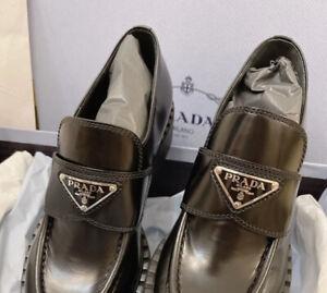 Prada Loafers Size Uk 6 EU 39 Box Crushed