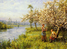 """Oil painting country women after fishing on a summers day by river landscape 36"""""""