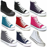 Ladies Womens Flat Lace up Plimsolls Hi High Tops Pumps Canvas Trainers Shoes