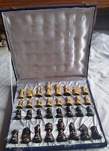 Chess board set box black & white pieces vintage wooden tournament game india
