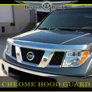 For 2005-2021 Nissan Frontier Chrome Bugshield Hood Guard Protector Deflector