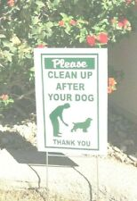 """$11.95 for 2 Signs Clean Up after Your Dog 2 stands 8"""" x 12"""" green/white"""