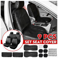 9pcs Car Seat Cover Full Set Front Rear Seat Back Protector PU Leather