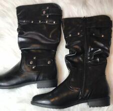 Rialto Womens Size 8 Black Farrah Fawcett Pointed Toe Mid Calf Rider Boots New
