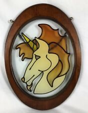 Hanging Oval Wood Framed Stained/Leaded Glass Look Unicorn Head Sun Catcher
