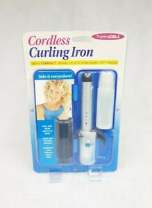 ThermaCell 5/8 Inch Cordless Curling Iron w/ Brush Travel Case Compact Rare Blue