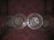 LOT OF 4 DECORATIVE GLASS PLATES WITH FLOWERS - HEAVY, SUBSTANTIAL! GORGEOUS!
