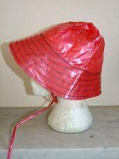 PVC Rain Hat Cap Beret Plastic Vinyl M L Red Fishing Check Rainhat Waterproof