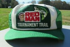 VINTAGE 1980s, RED MAN TOURNAMENT TRAIL, GREEN TRUCKER HAT, MESH, SNAP BACK