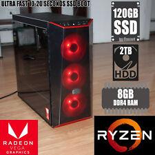 AMD Ryzen 5 2400G | 8GB Ram | 120TB SSD|2TB HDD Gaming Computer PC wth RED fans
