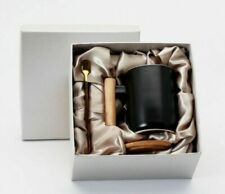 CERAMIC TEA COFFEE CUP WITH WOODEN LID, HANDLE, AND METAL SPOON
