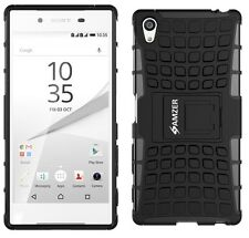 AMZER Rugged Dual Layer Hybrid Warrior Case For Sony Xperia Z5 Premium - Black
