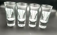 Crisa Frosted Etched Elephant  Heavy Bottom Double Shot Glasses Set of 4