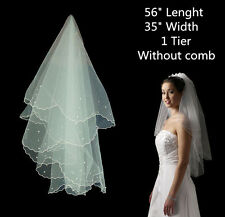 "56"" * 35""Cathedral Pearl Veils 1 Layer Bridal Wedding Accessory Elbow Length UK"