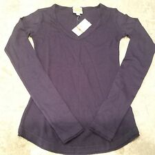 splendid C&C California thermal long sleeve v-neck sweater knit top S small navy