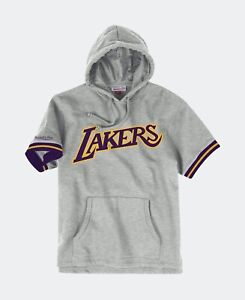 Mitchell & Ness Hardwood Classic Lakers French Terry Short Sleeve GREY Hoodie