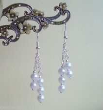 Pretty White Glass Pearl Dangly Chain Silver Plated Drop Earrings