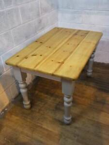 SOLID PINE FARM HOUSE  KITCHEN DINING TABLE, GREY PAINTED SUPPORTS